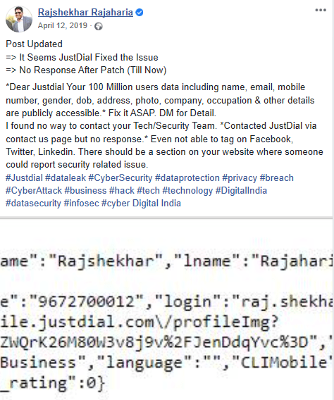 alleged JustDial data breach post