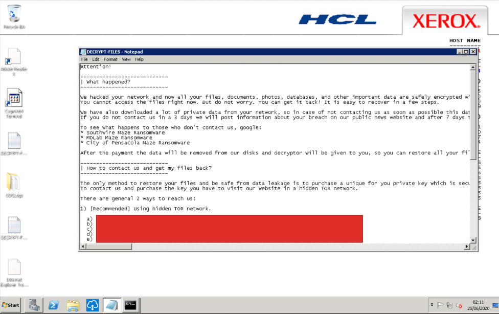 xerox hacked maze ransomware group image 3