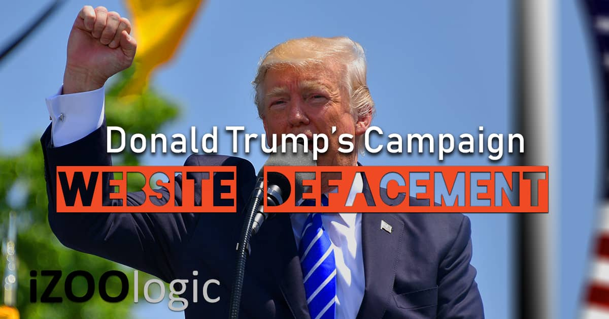 donald trump campaign website hacked us election defacement