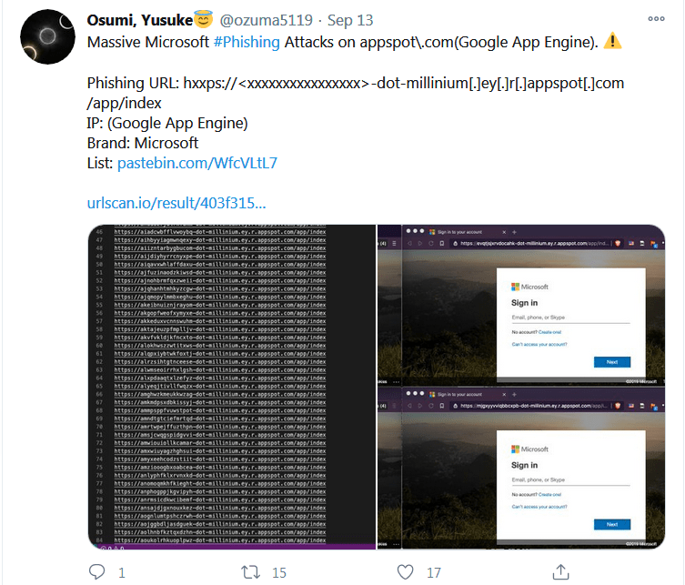 google app engine twitter phishing pages