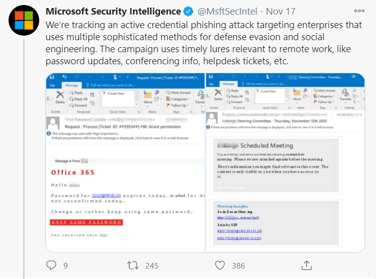 phishing email campaign Microsoft image 1